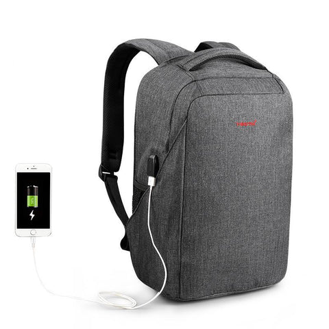 TSA friendly streamlined USB External Charging backpack water resistant