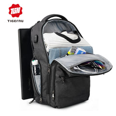 Large Capacity USB External Charging Laptop Backpack with multi section front pockets