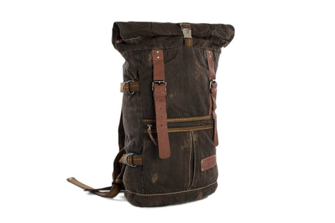 Waxed Canvas and Leather Backpack Casual Backpack Rucksack School Backpack - itechitrek