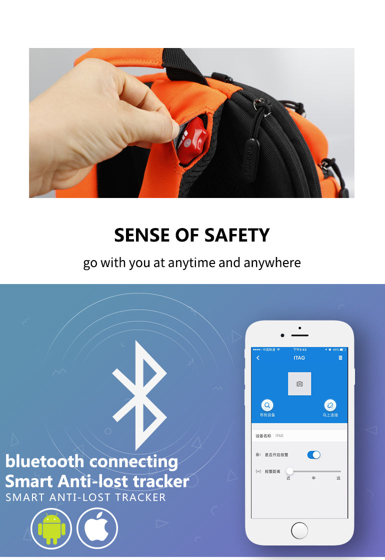 TSA ready Flame Resistant Backpack GPS Track Your Bag With Your Smartphone