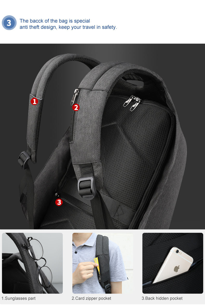 USB Backpack with Oxford and PU details - Urban styling