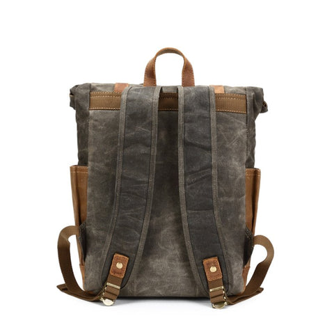 Authentic Handcrafted Leather Canvas Back Pack