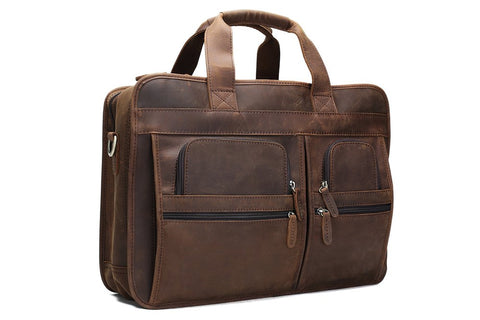 Handmade Genuine Leather Luggage Bag Travel Bag Laptop Briefcase