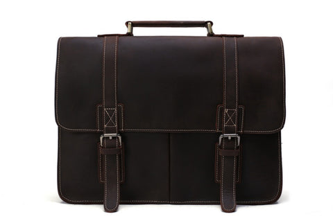 Vintage Style Natural grain Leather Men's Briefcase - itechitrek