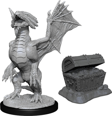 Nolzur`s Marvelous Unpainted Miniatures: W13 Bronze Dragon Wyrmling & Pile of Sea found Treasure