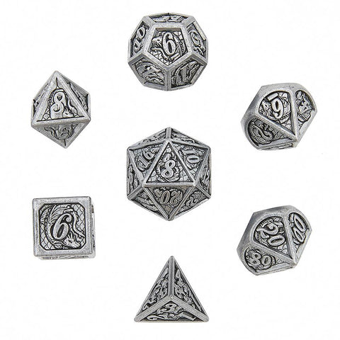 Antique Iron Solid Metal Dragon Polyhedral Dice Set (7)