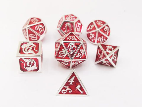 Silver with Ruby Solid Metal Dragon Dice Set (7)
