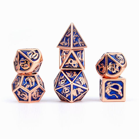 Copper with Navy Blue Solid Metal Dragon Dice Set (7)