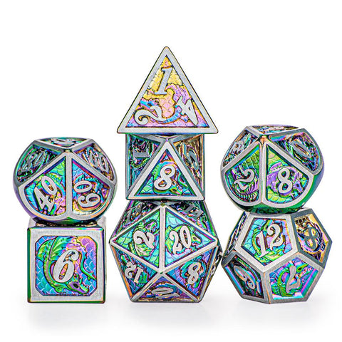 Brushed Rainbow Solid Metal Dragon Dice Set (7)