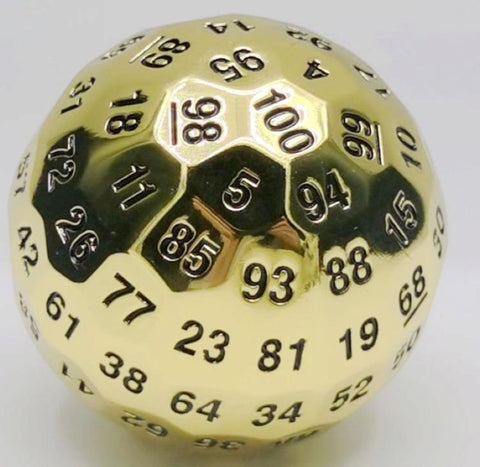 Shiny Gold Metal D100 Dice