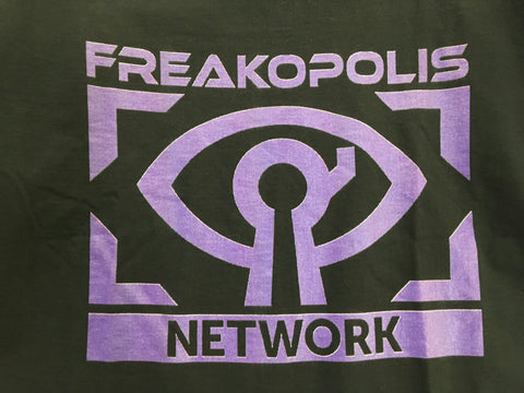 Freakopolis Network Logo printed on a black T-shirt
