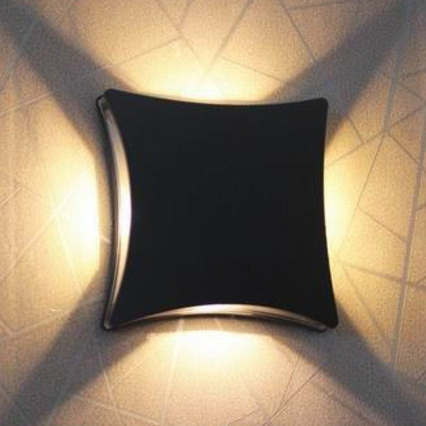 Dark Grey Ip44 4 Led Outdoor Curved Square Wall Light