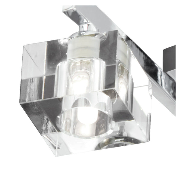 Sculptured Ice Chrome 4 Light Semi-Flush With Clear Shaped Glass