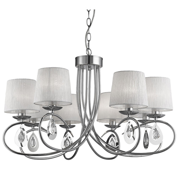 Angelique Chrome 8 Light Ceiling Fitting With Ruffled Shades