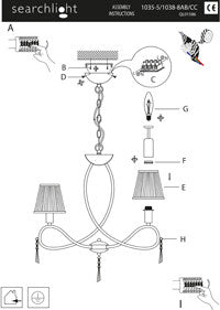 Simplicity 8 Light Fitting With Glass Drops & White String Shades (+More Colours)