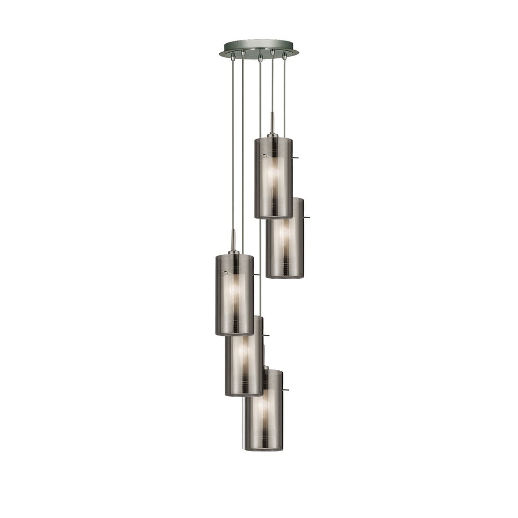 Duo 2 Chrome 5 Light Multi-Drop Pendant With Smoked Glass Cylinder Shades