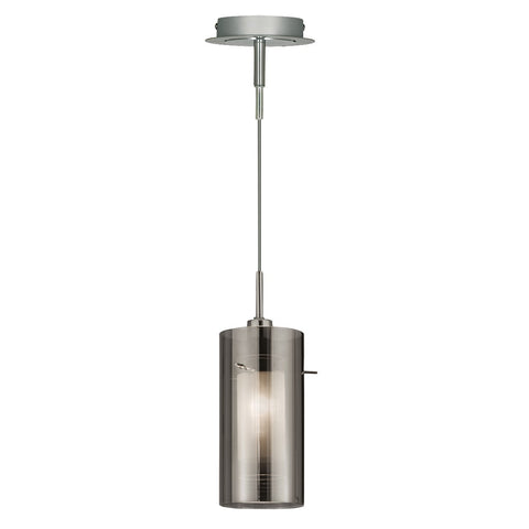 Duo 2 Chrome Pendant Light With Smoked Glass Cylinder Shade