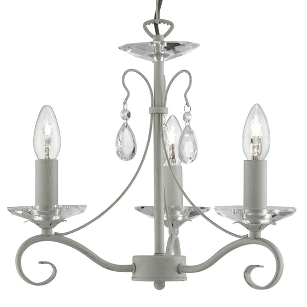 Verona Cream Gold 3 Light Ceiling Fitting With Glass Sconces