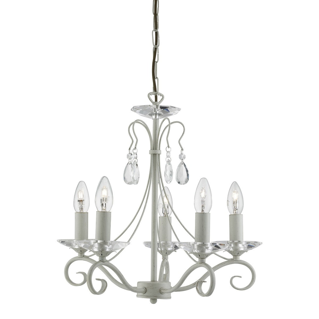 Verona Cream Gold 5 Light Ceiling Fitting With Glass Sconces