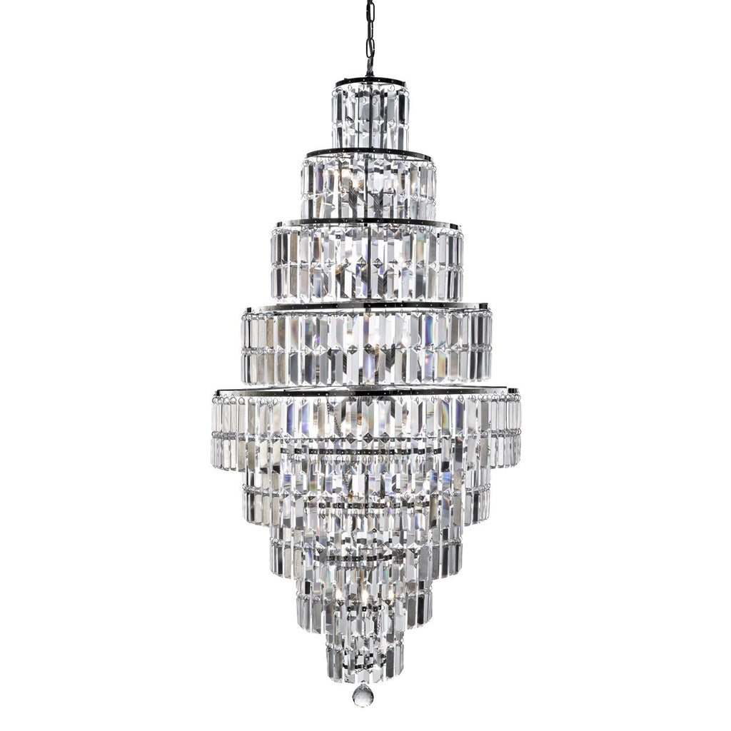 Empire Chrome 13 Light Tiered Chandelier With Bevelled Crystal Coffin Drops