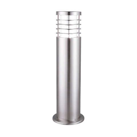 Satin Silver Ip44 Outdoor Bollard Light With Polycarbonate Diffuser