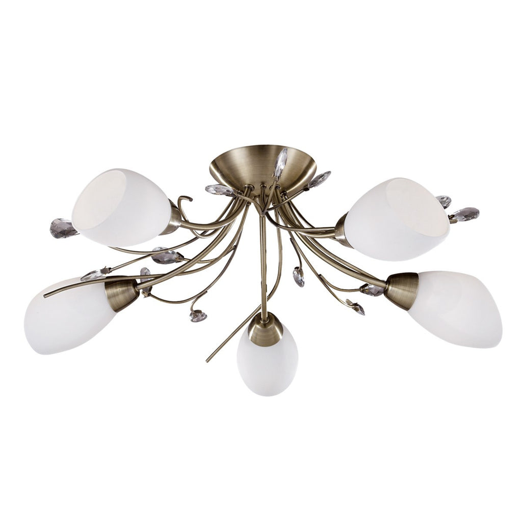 Gardenia 5 Light Semi-Flush With Crystal Detail & Opal Glass Shades (+More Colours)