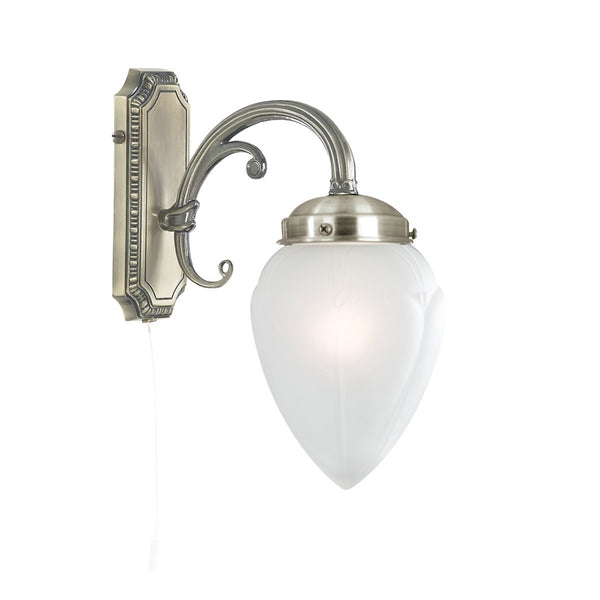 Regency Antique Brass Wall Light With Acid Glass Shade