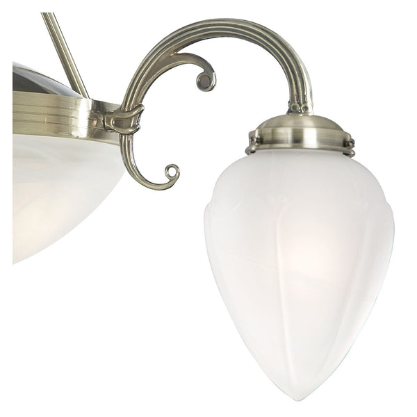 REGENCY ANTIQUE BRASS 5 LIGHT FITTING WITH ACID GLASS SHADES