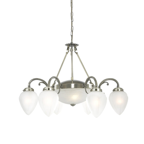Regency Antique Brass 8 Light Fitting With Acid Glass Shades