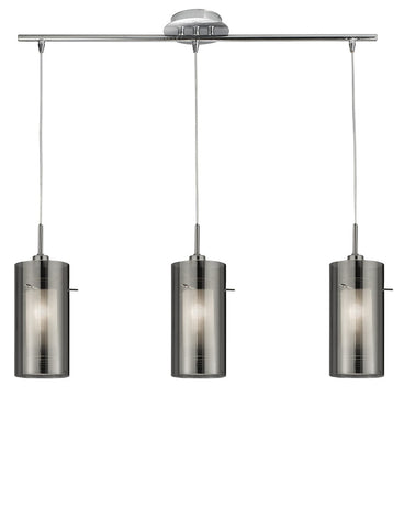 Duo 2 Chrome 3 Light Bar Pendant With Smoked Glass Cylinder Shades