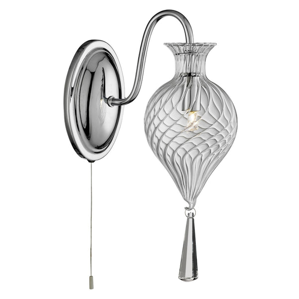 Twirls Chrome Wall Light With Clear Glass Shade