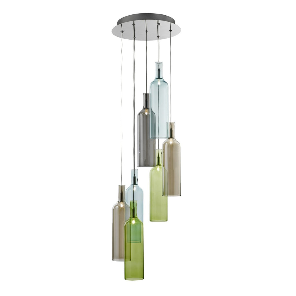 Bottle 7 Light Multi-Drop Pendant With Multi-Coloured Glass Bottles