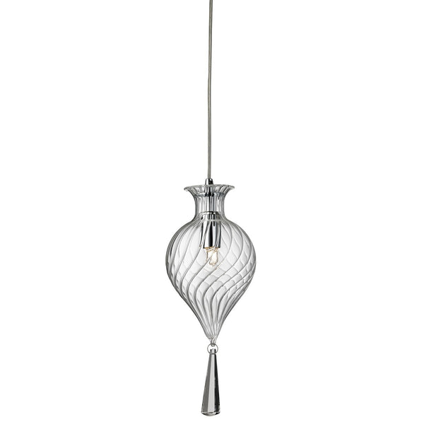 Twirls Chrome Pendant Light With Clear Glass Shade