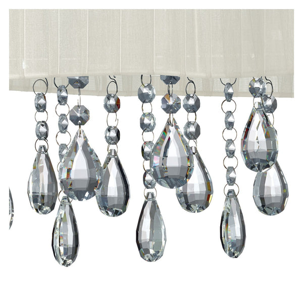 Pleated Chrome 4 Light Ceiling Fitting With Cream Shade & Crystal Drops