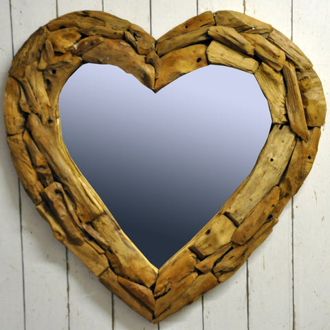 90x5x90CM Heart Shaped Teak Branch Mirror