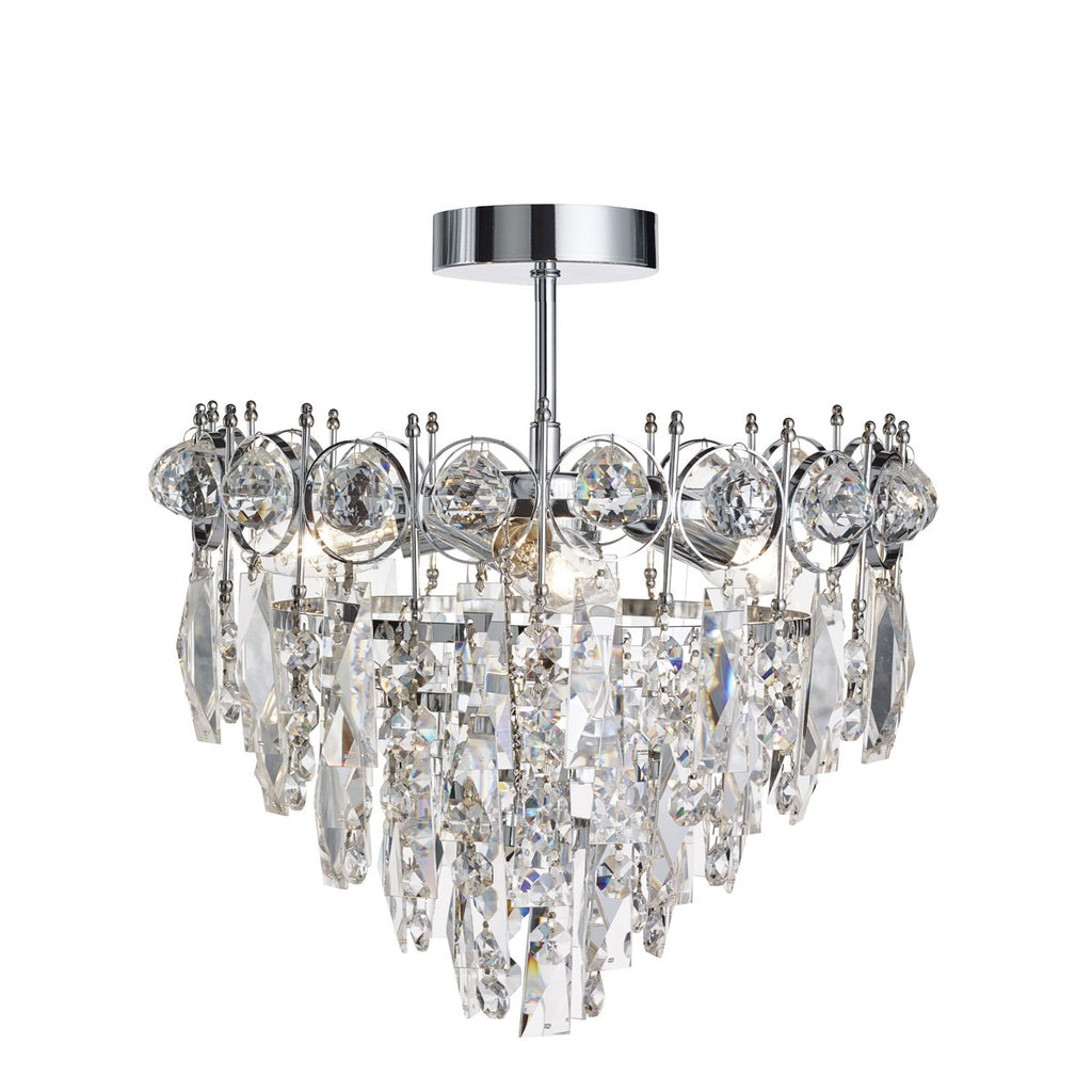 Catherine Chrome 3 Light Ceiling Fitting With Crystal Decoration