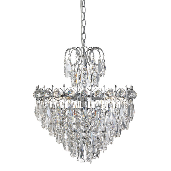 Catherine Chrome 5 Light Ceiling Fitting With Crystal Decoration