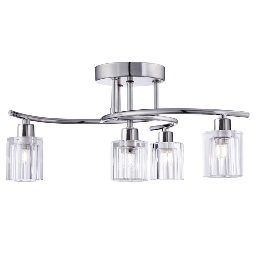 Ice Block Satin Silver 4 Light Curved Semi-Flush With Clear Shaped Glass