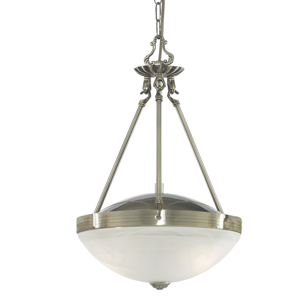 Regency Antique Brass 2 Light Pendant With Acid Glass Shades