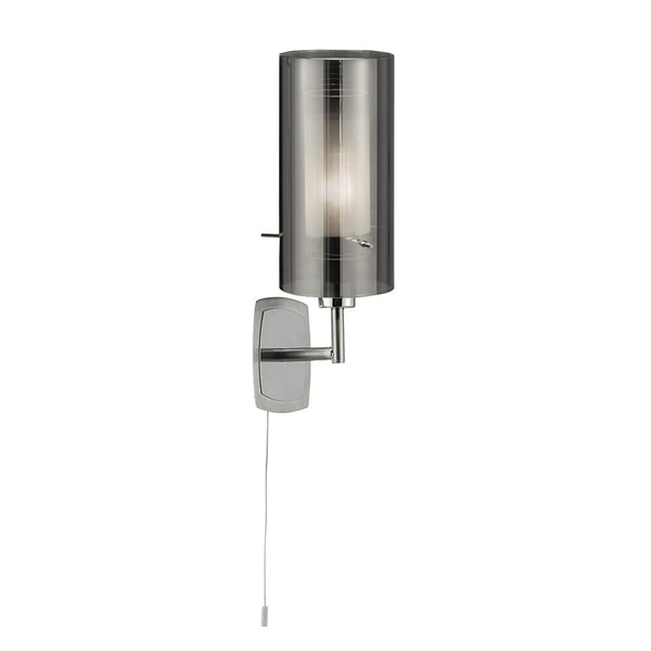 Duo 2 Chrome Wall Light With Smoked Glass Cylinder Shade