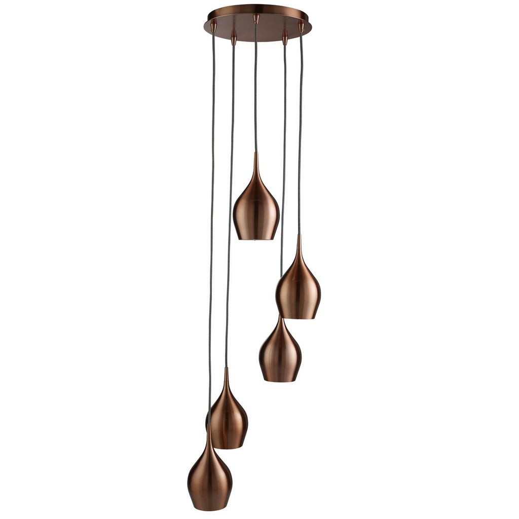 Vibrant 5 Light Copper Multi-Drop Pendant With Bell Shades