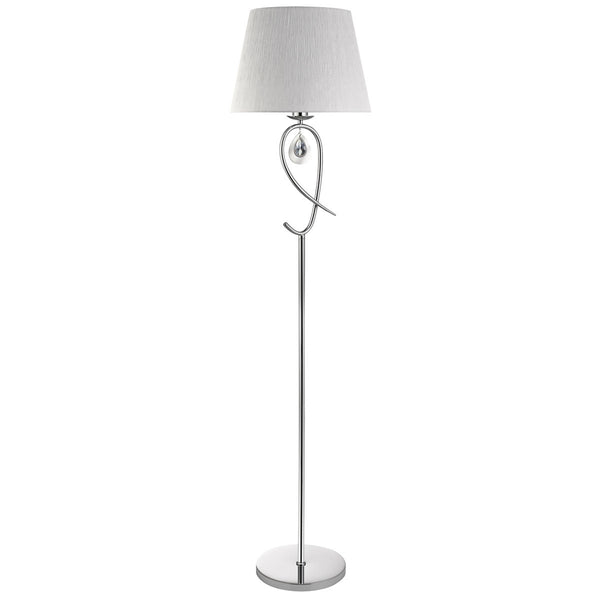 Angelique Chrome Floor Lamp With Ruffled Shade