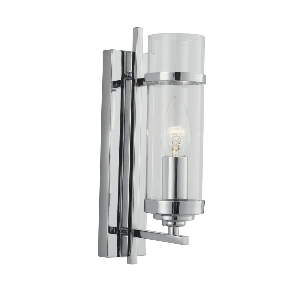 Milo Chrome Wall Light With Clear Glass Cylinder Shades