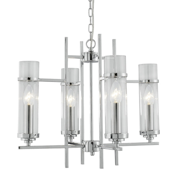 Milo Chrome 4 Light Fitting With Clear Glass Cylinder Shades