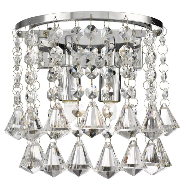 Hanna Chrome 2 Light Round Wall Bracket With Diamond Shape Crystals (+More Colours)