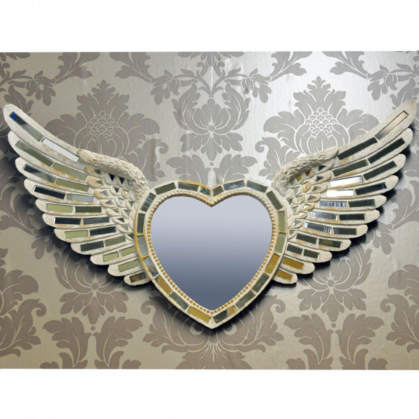 65cm x 36cm Heart & Wings Silver Mirror