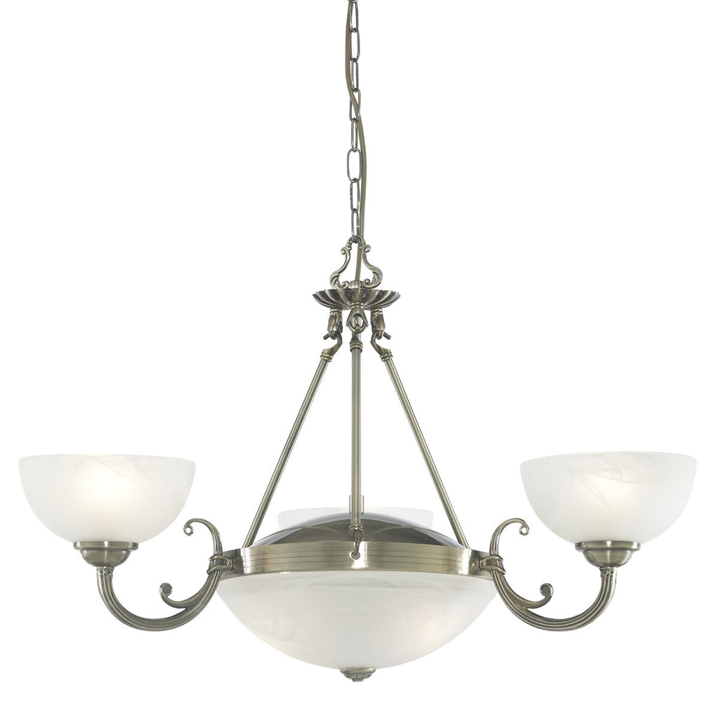 Windsor Antique Brass 5 Light Fitting With Alabaster Glass Shade