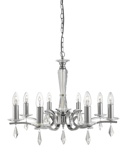 Royale Satin Silver 8 Light Ceiling Fitting With Hexagonal Glass Sconces