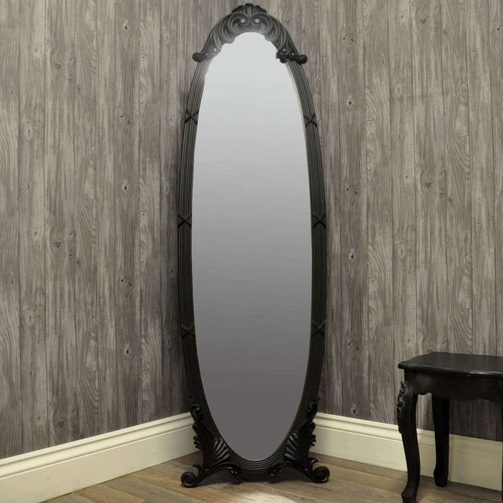 40cmx146cm Matt Black Cheval Mirror