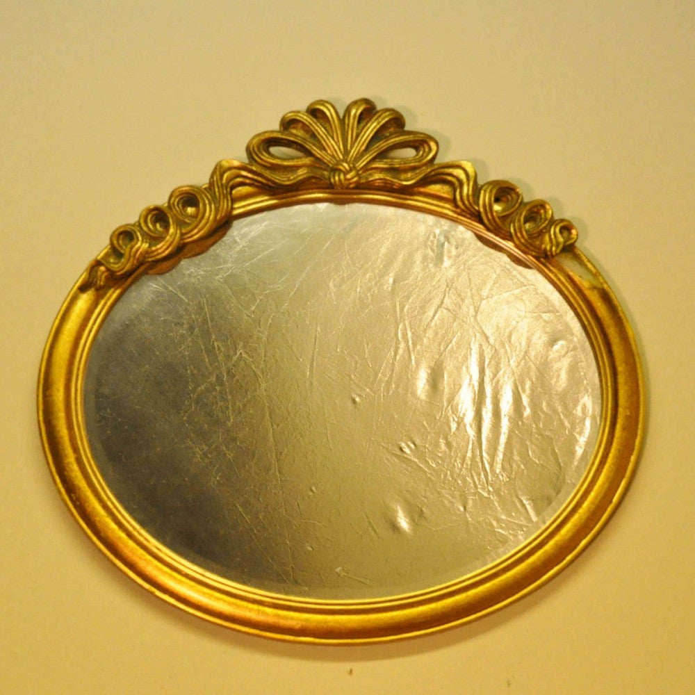 40cm X 50cm Gold Oval Mirror With Bow